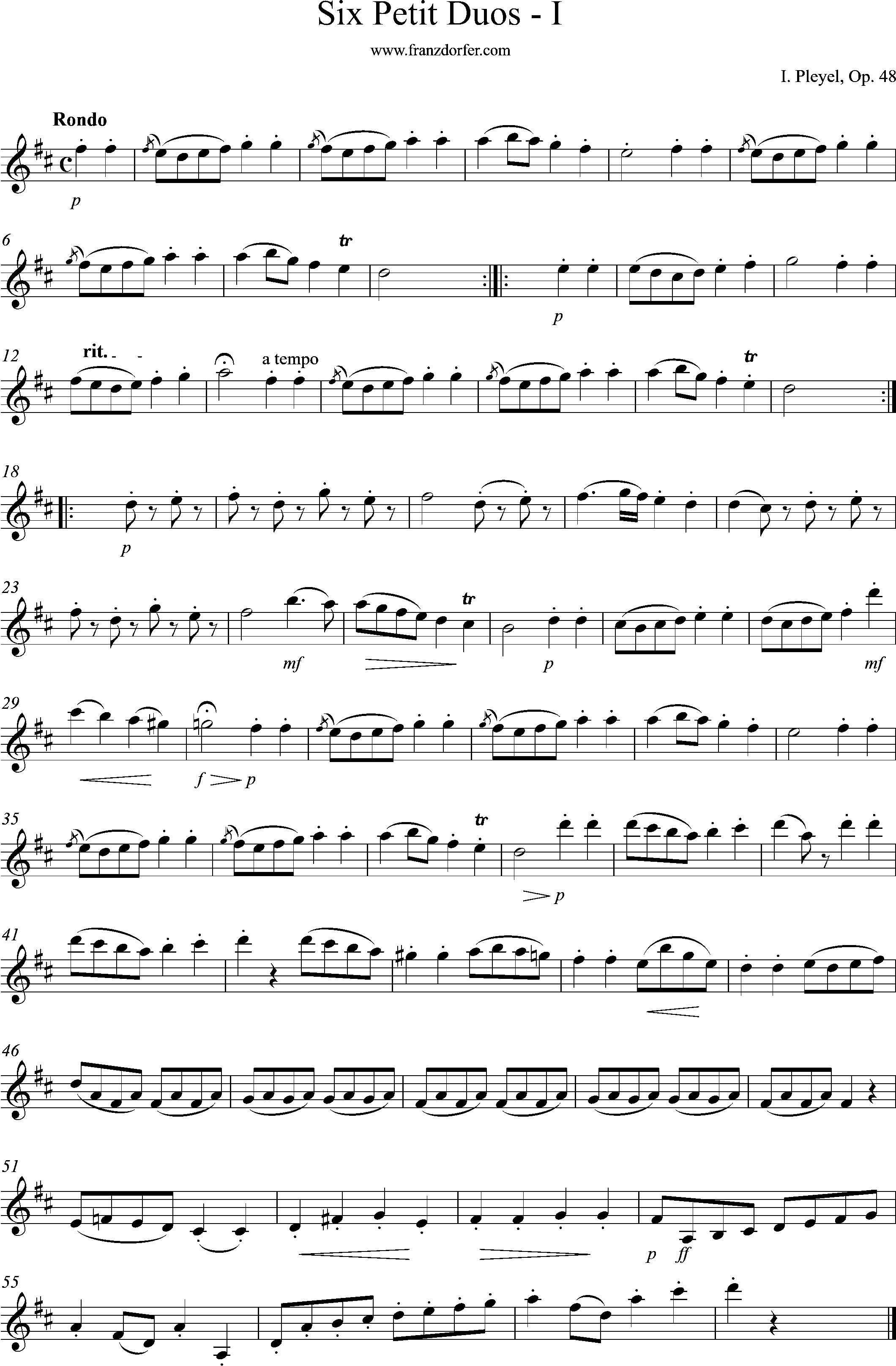 clarinet sheetmusic plexel op48, Rondo